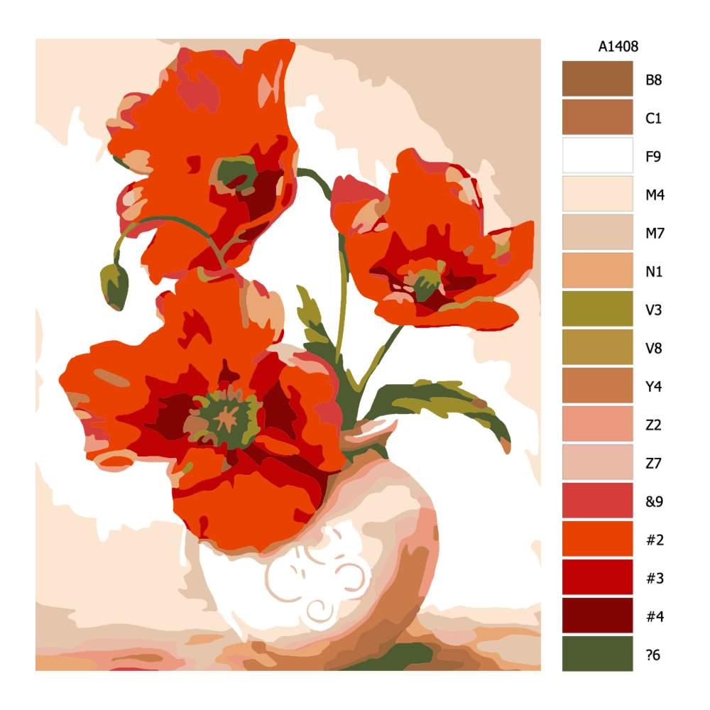 Návod pro malování podle čísel Vlčí mák ve váze