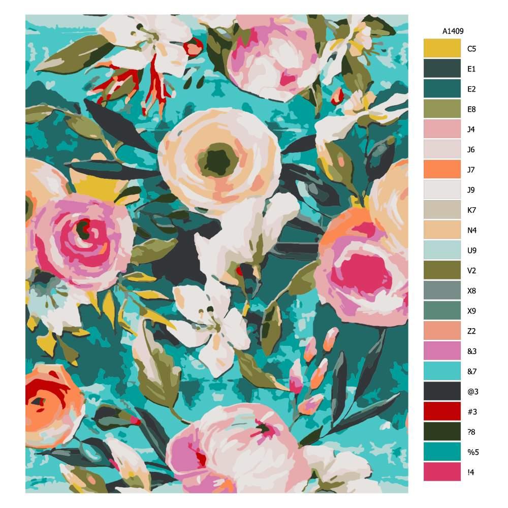 Malování podle čísel Květiny s modrým pozadím