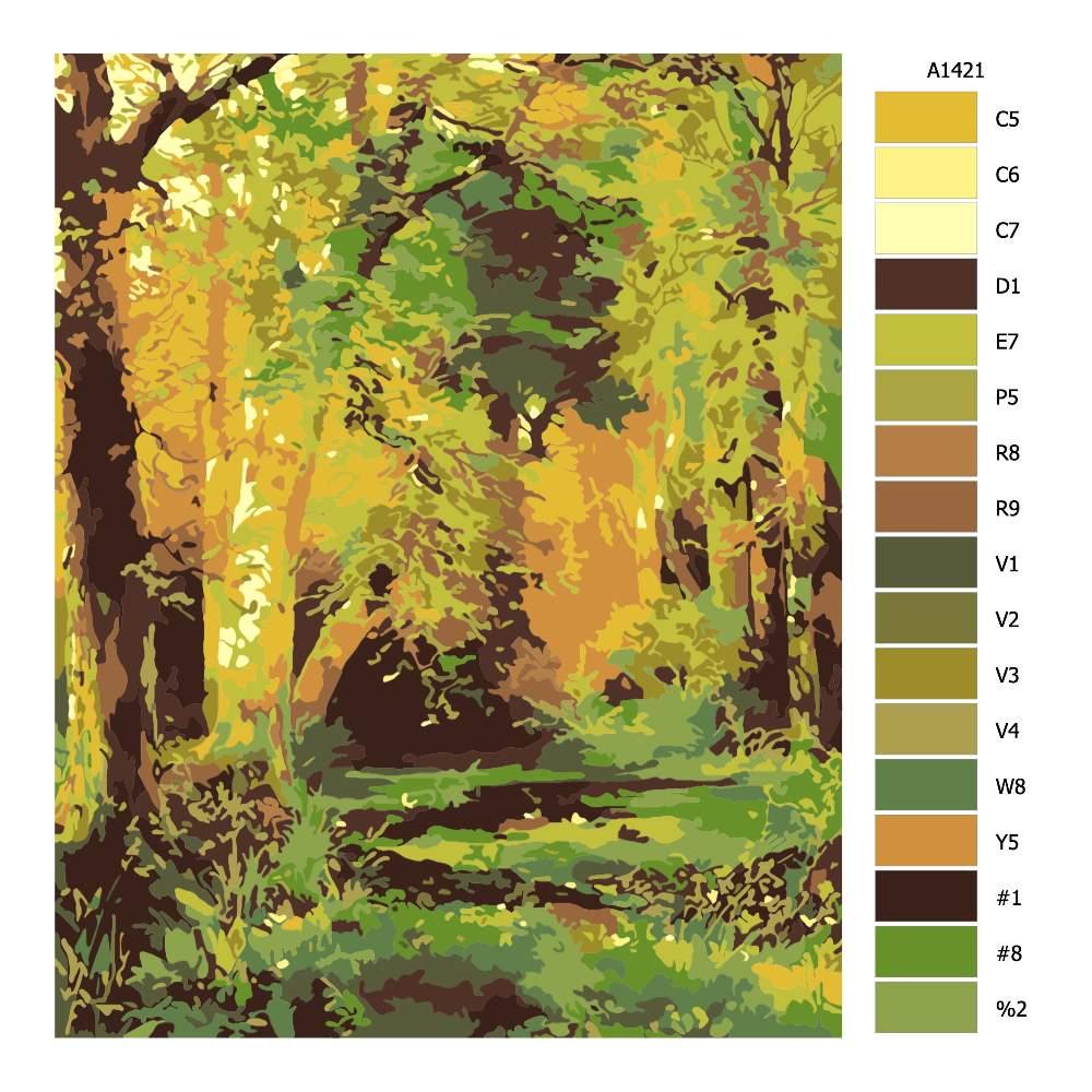 Návod pro malování podle čísel Pohled z lesa