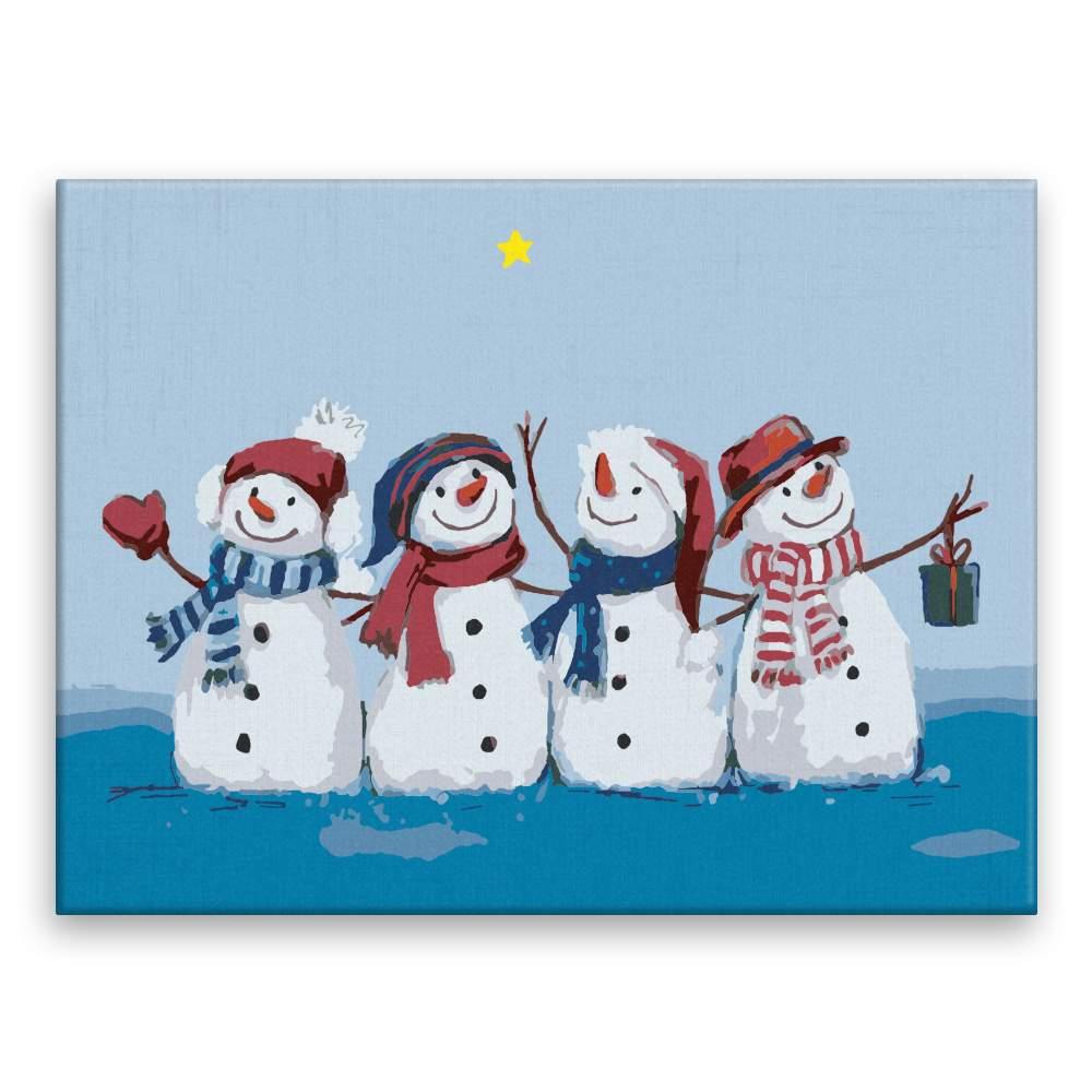 Malování podle čísel Čtyři sněhuláci