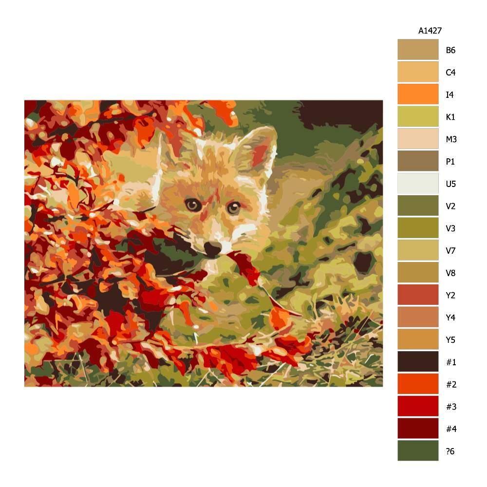 Návod pro malování podle čísel Liška za javorem