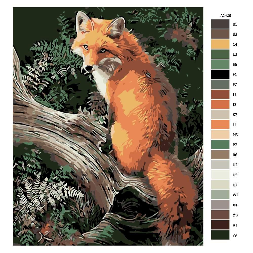 Návod pro malování podle čísel Liška na kměni stromu