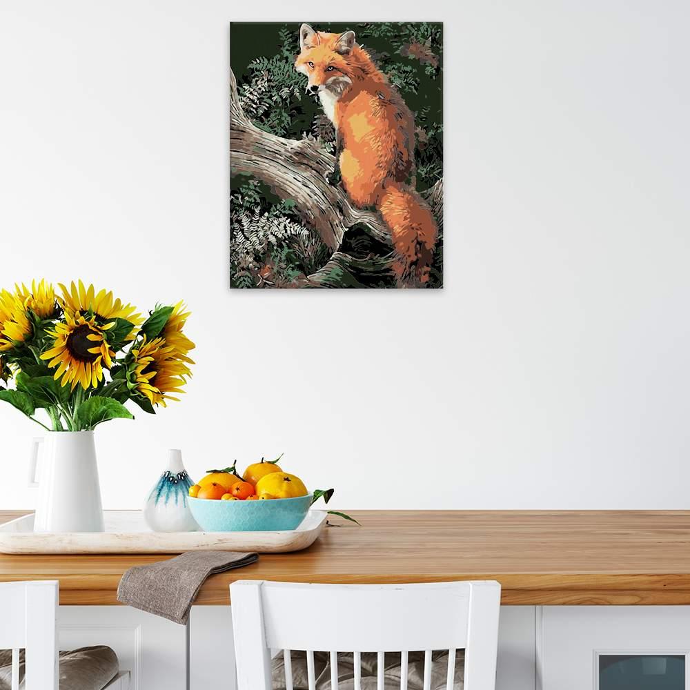Malování podle čísel Liška na kměni stromu