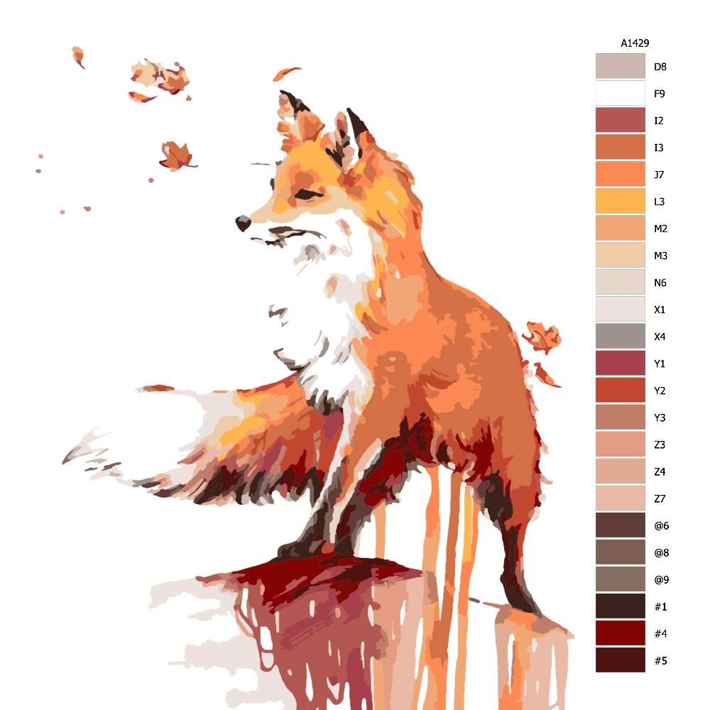 Návod pro malování podle čísel Liščí úvaha
