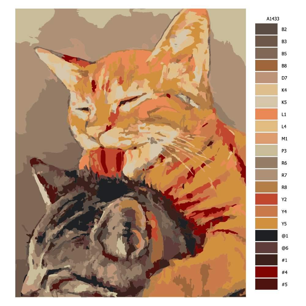 Návod pro malování podle čísel Kočičí přátelství