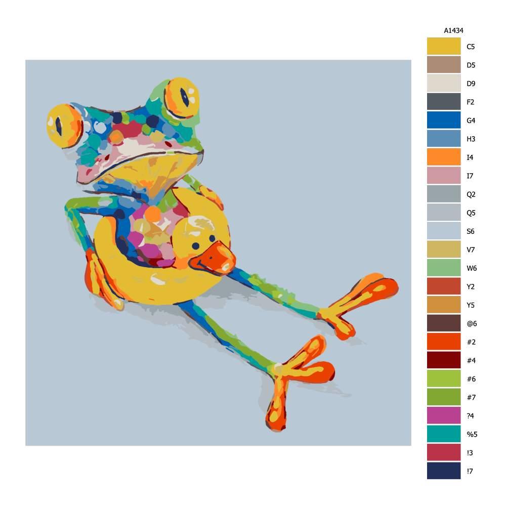 Návod pro malování podle čísel Žabka v kruhu