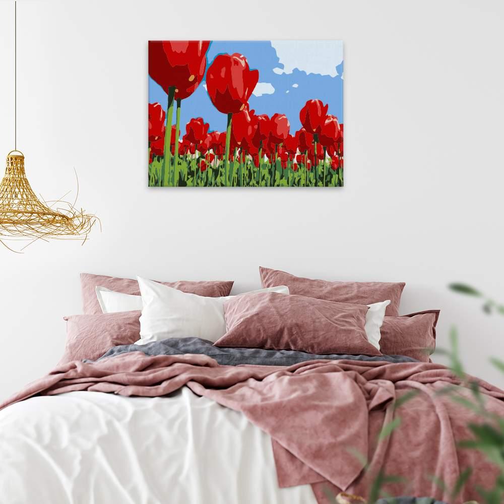Malování podle čísel Rudé tulipány