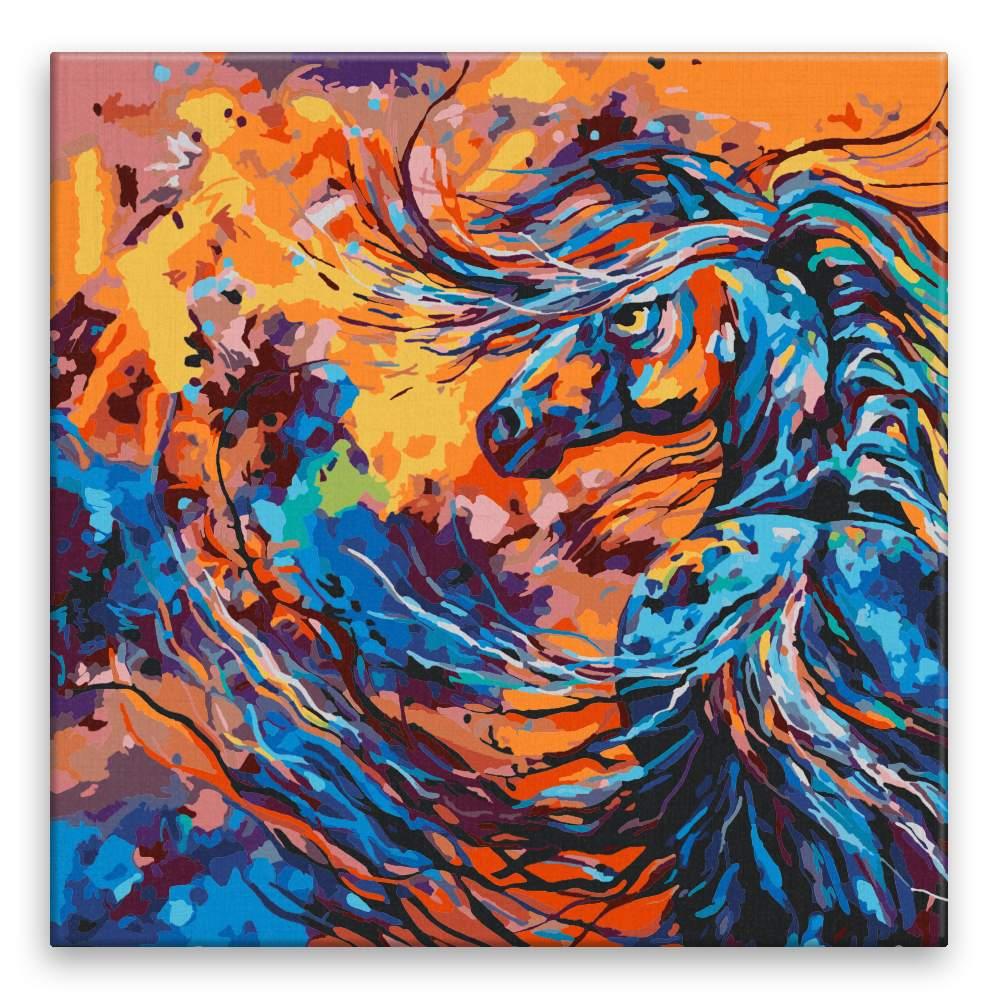 Malování podle čísel Rozohněný hřebec