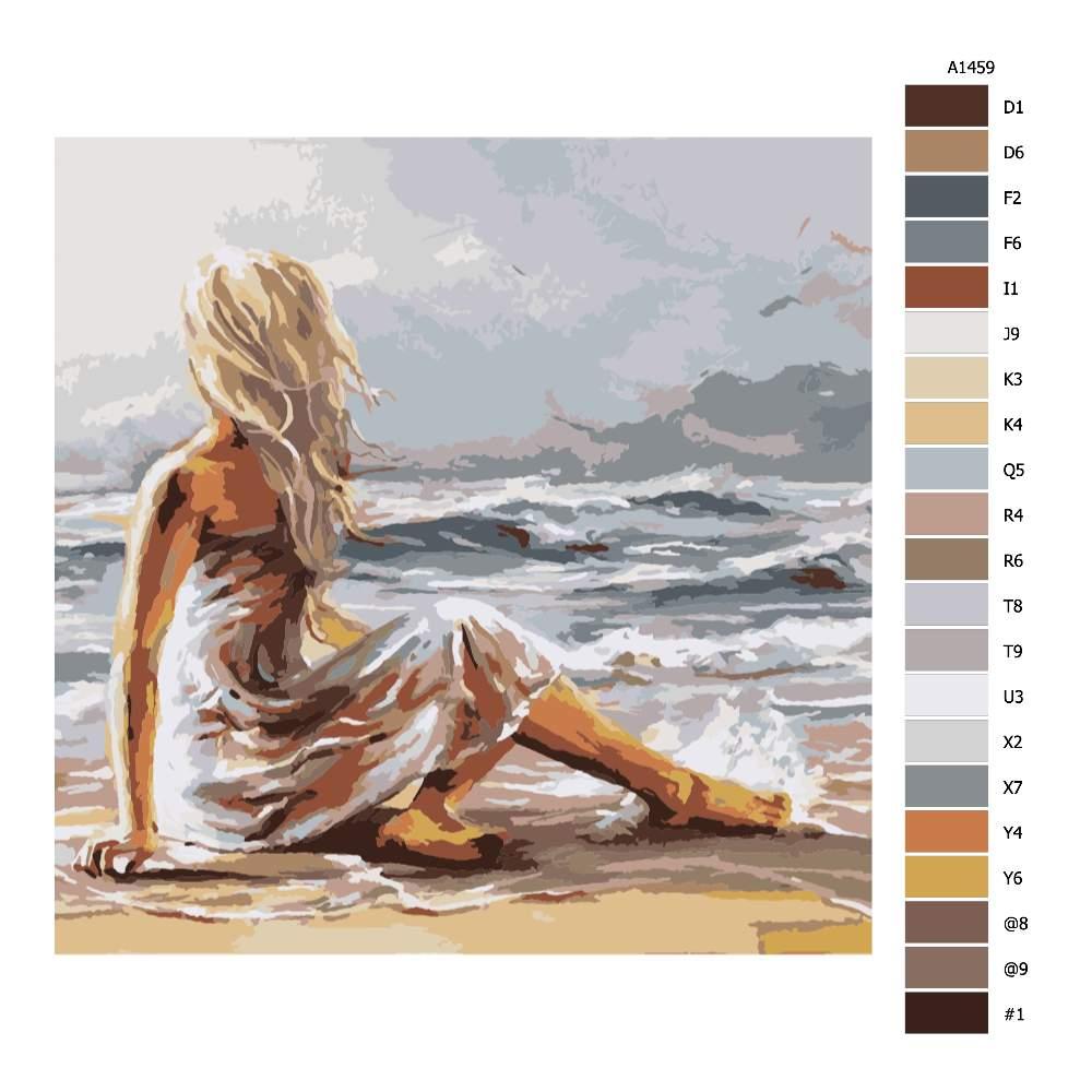 Návod pro malování podle čísel Dívka na pláži