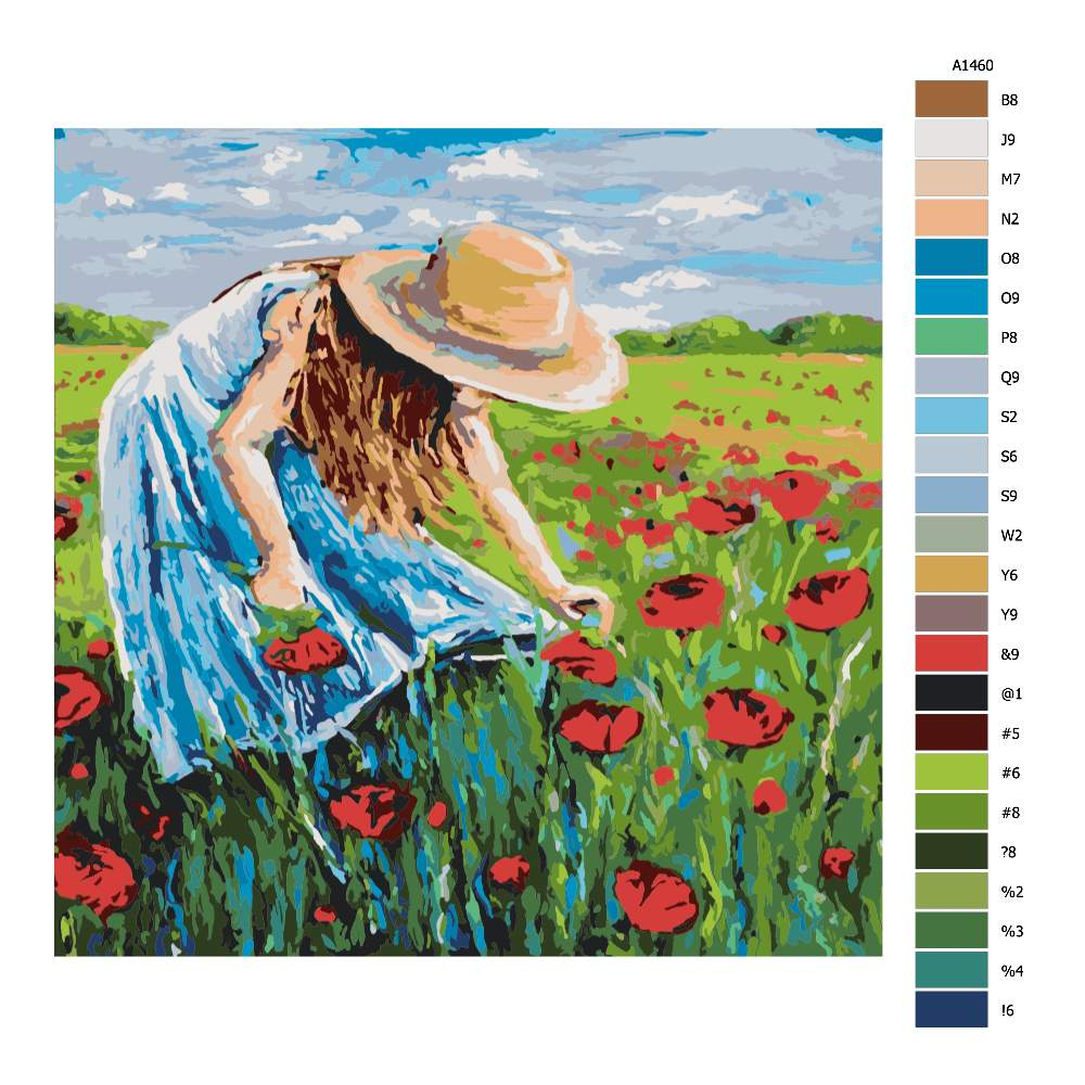 Návod pro malování podle čísel Dívka trhající polní květy