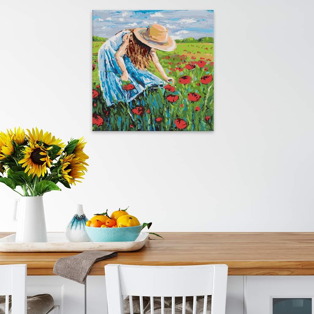 Malování podle čísel Dívka trhající polní květy