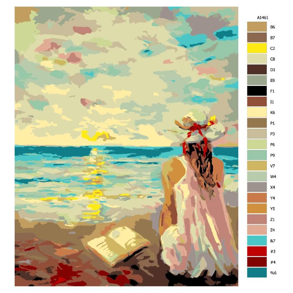 Malování podle čísel Dívka s knihou na pláži