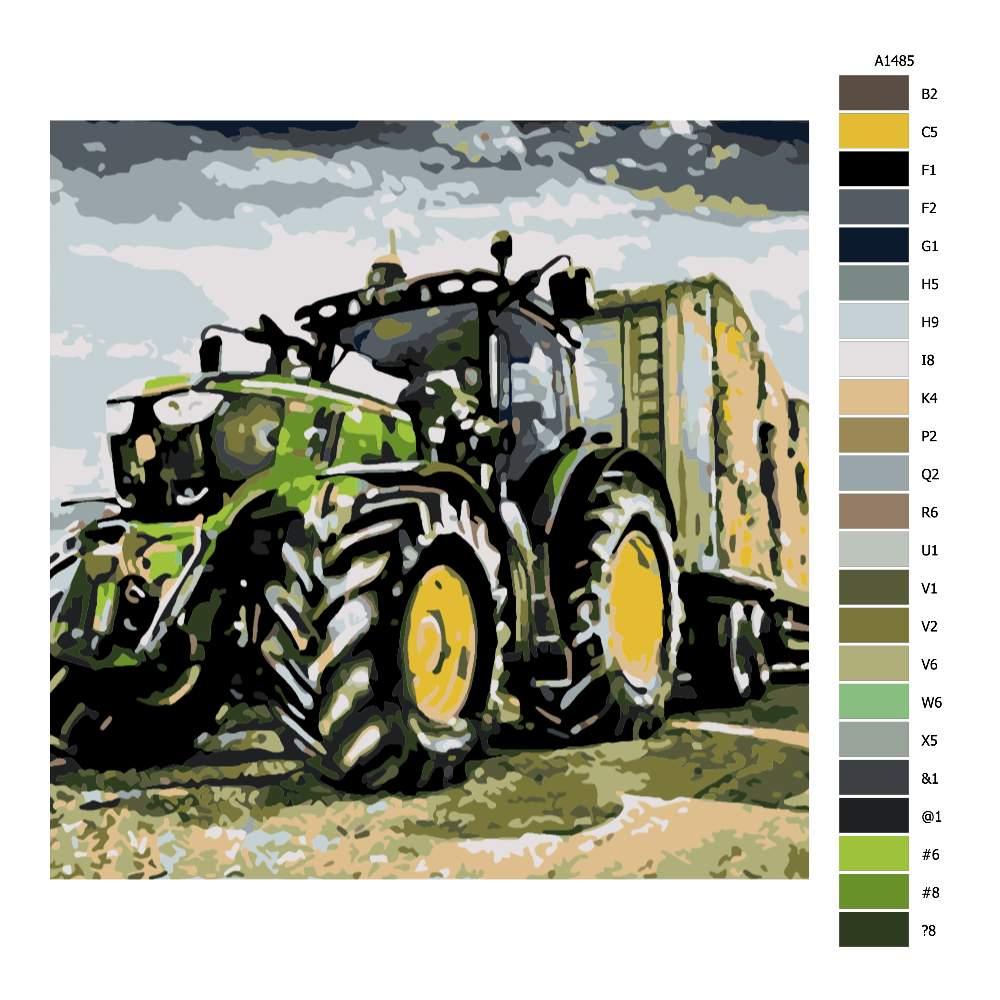 Návod pro malování podle čísel Traktor na poli