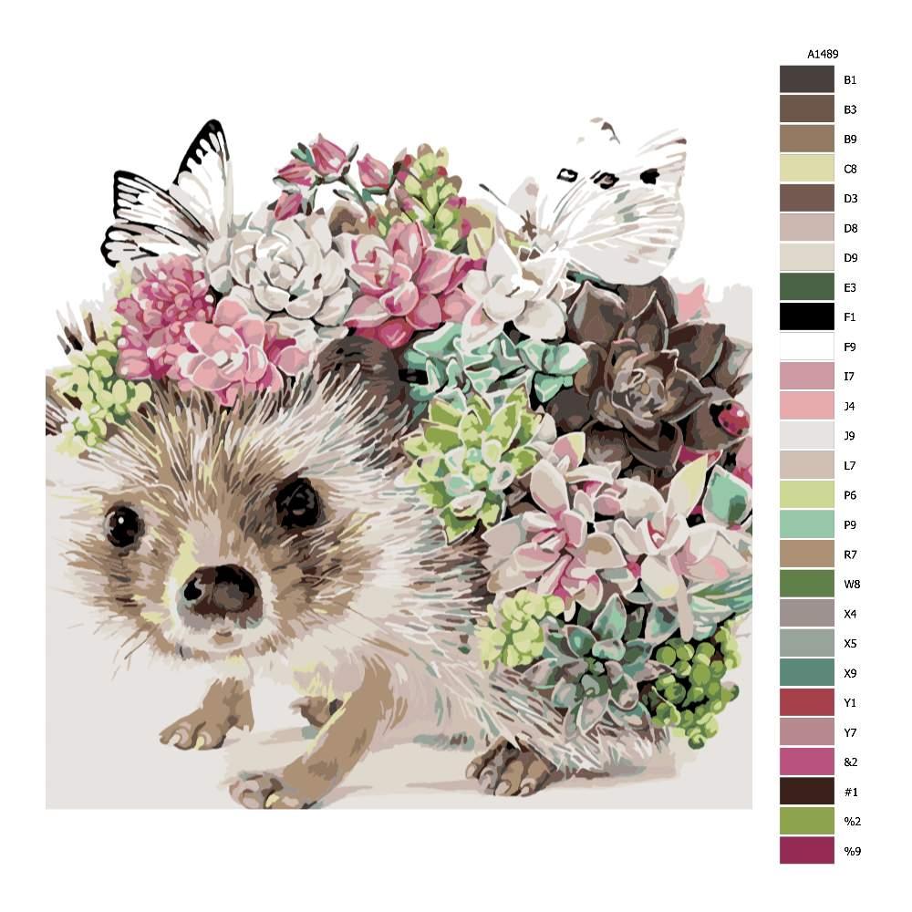 Návod pro malování podle čísel Ježek s květinami