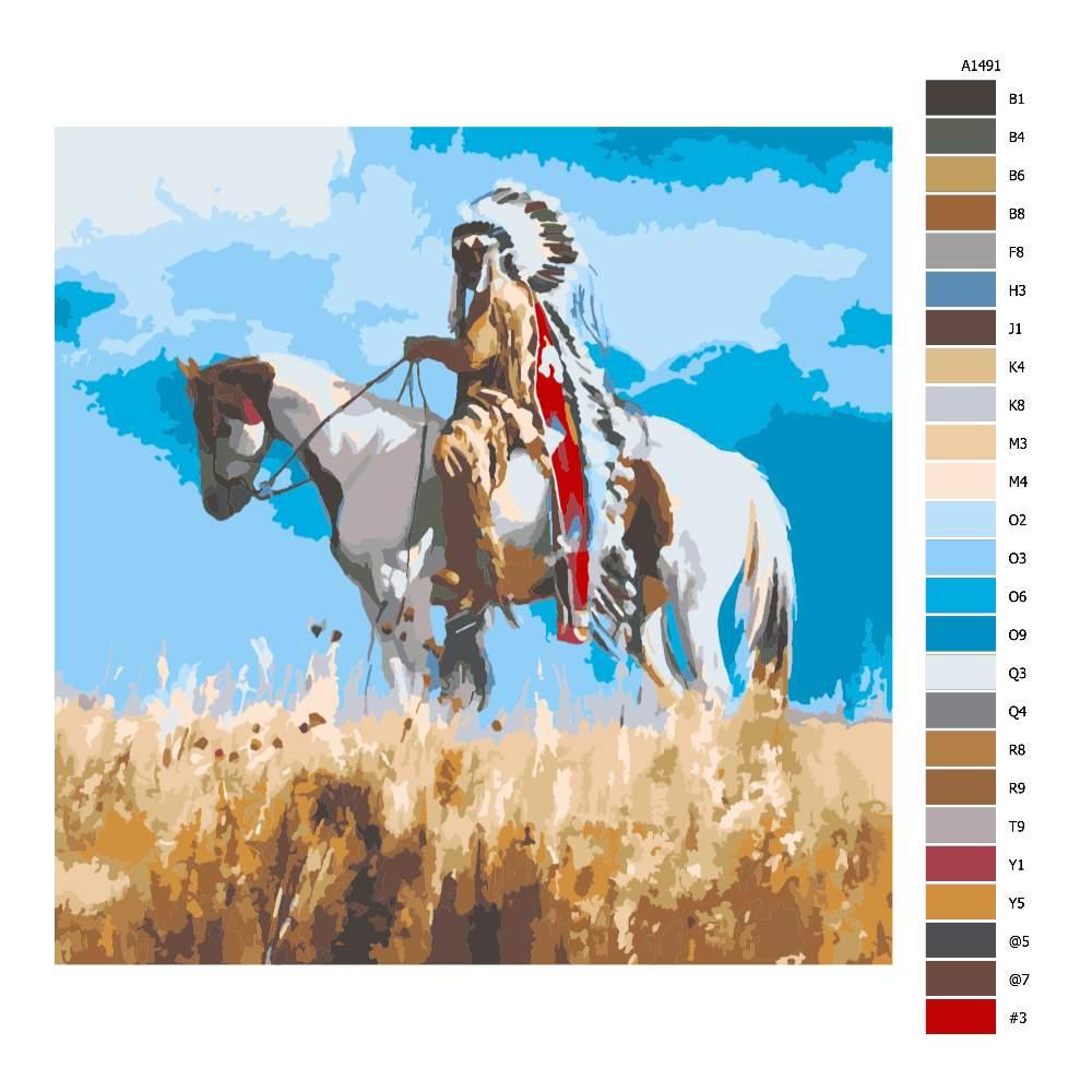 Návod pro malování podle čísel Indiánský náčelník