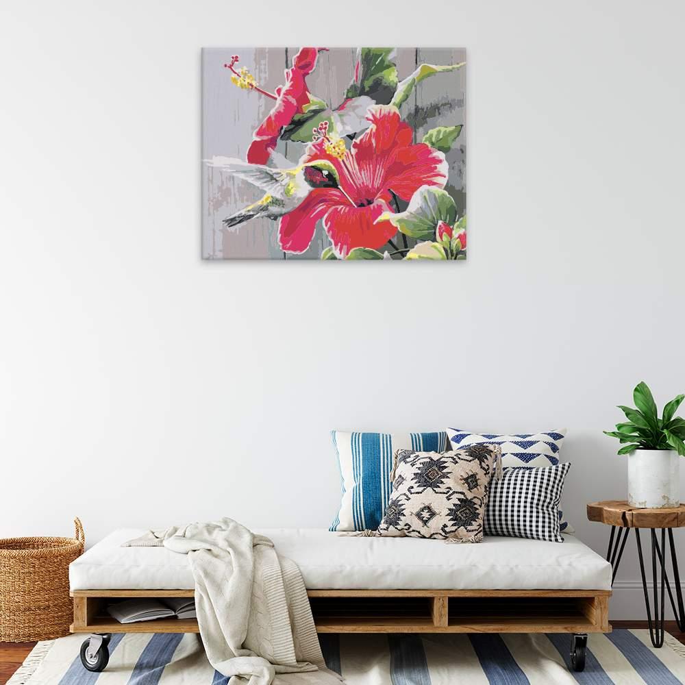 Malování podle čísel Kolibřík s rudým květem