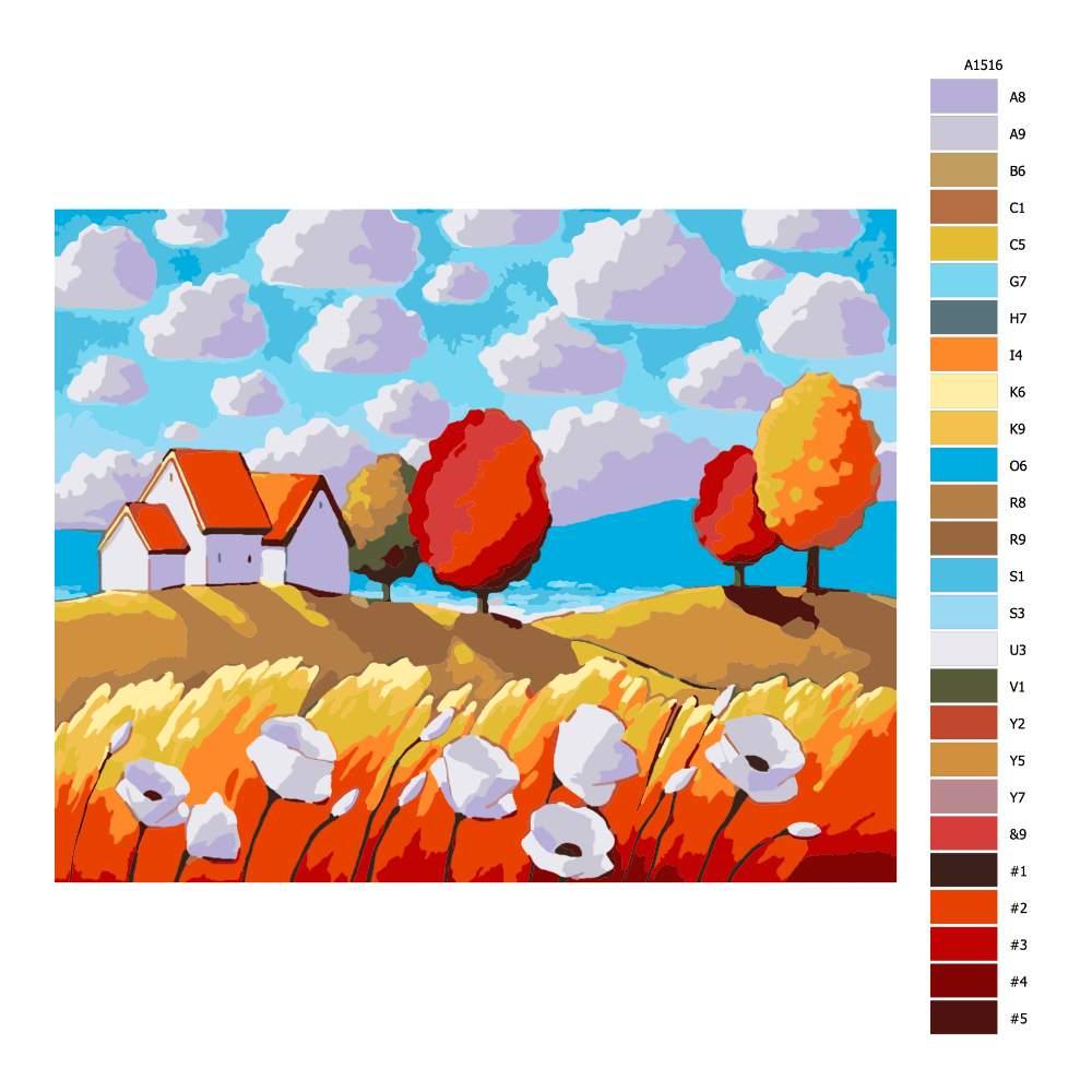 Návod pro malování podle čísel Domky v přímoří