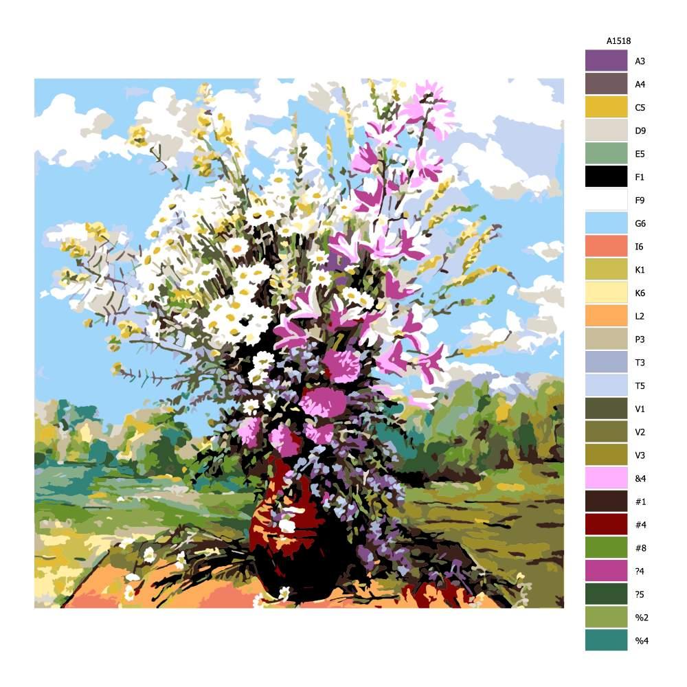 Návod pro malování podle čísel Polní květiny ve váze