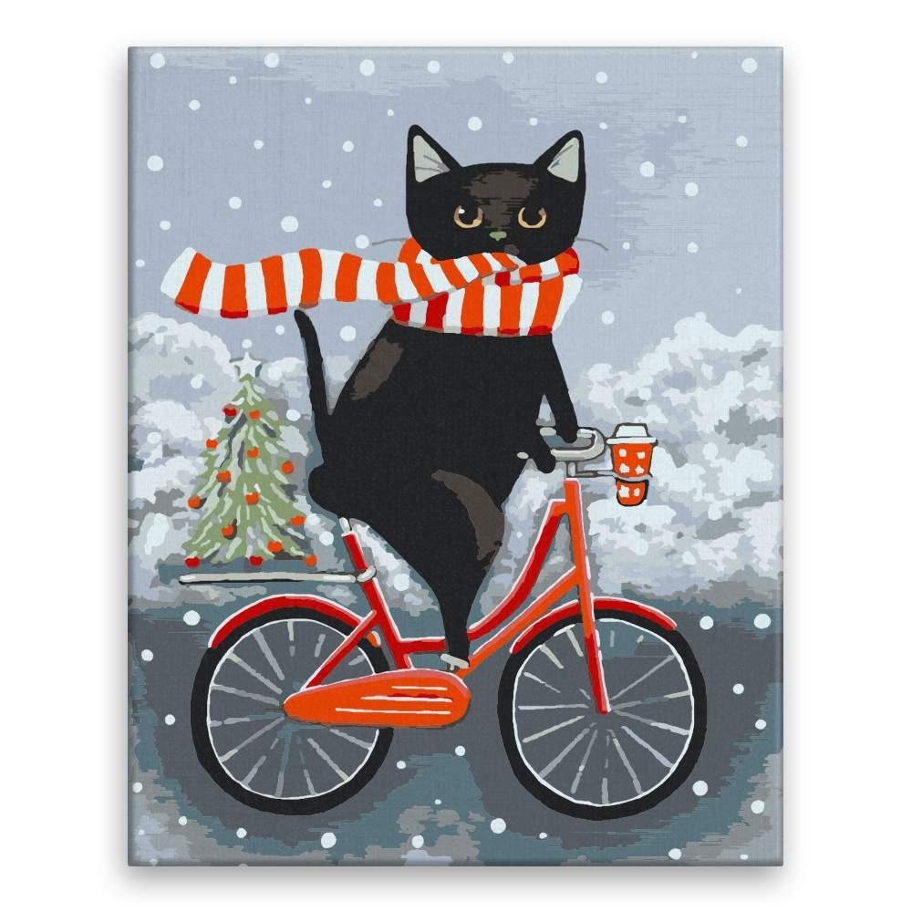 Malování podle čísel Na kole s kocourem o Vánocích