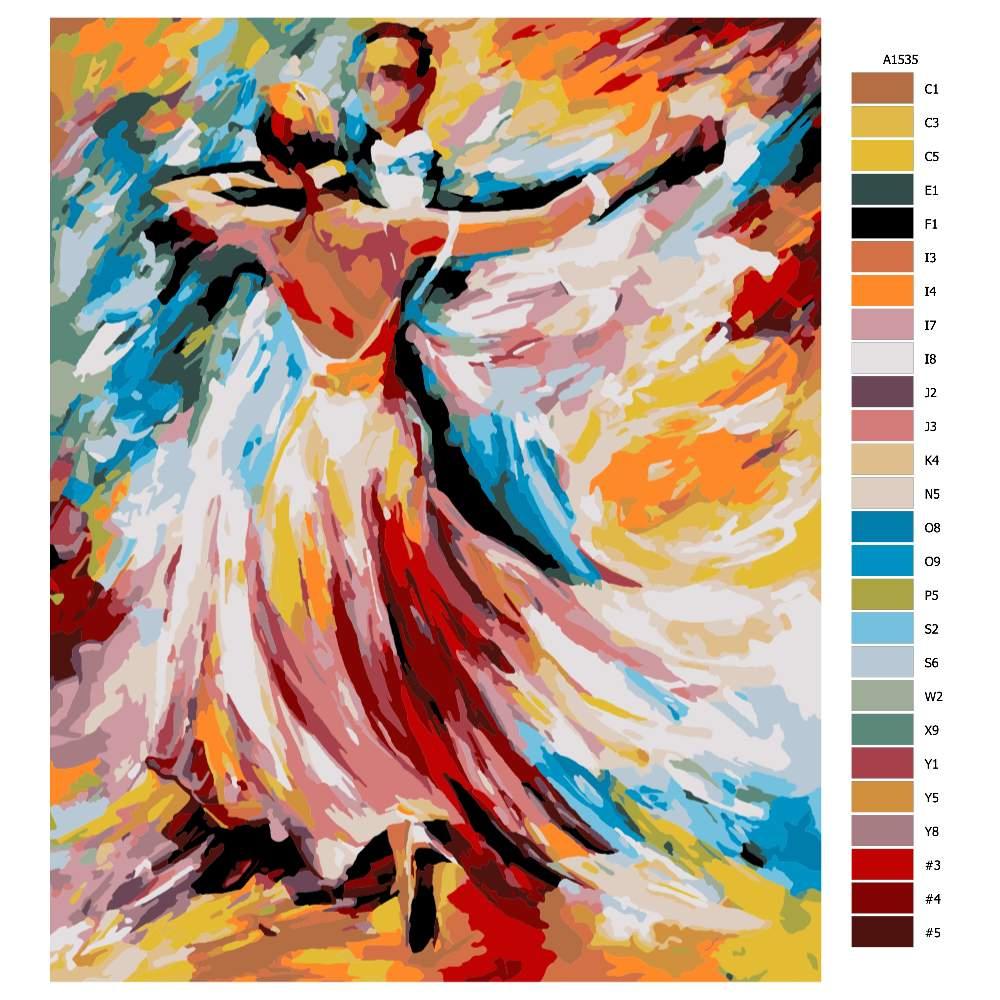 Návod pro malování podle čísel Taneční elegance