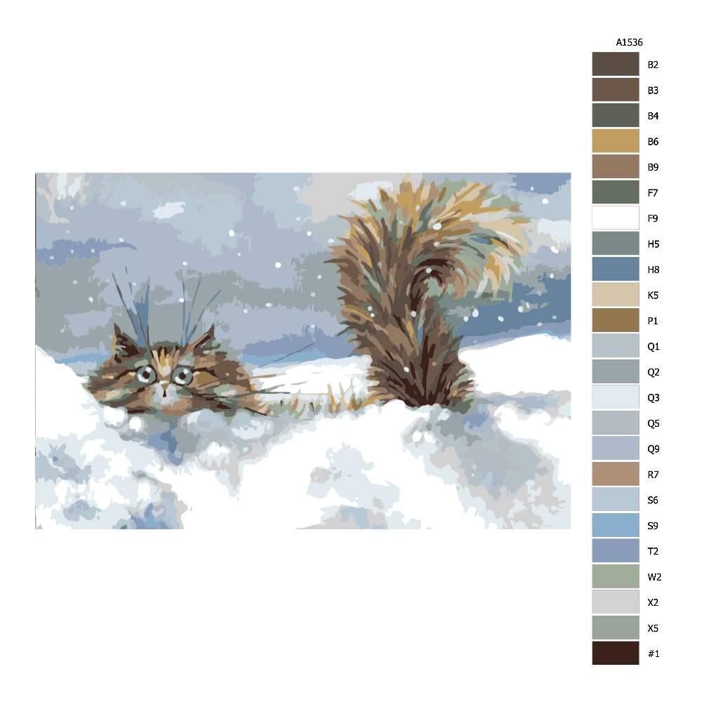 Návod pro malování podle čísel Kocour ve sněhu