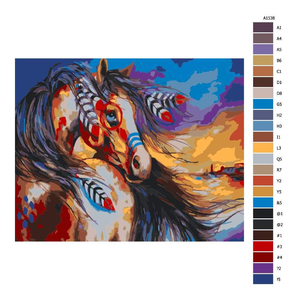 Návod pro malování podle čísel Indiánův kůň