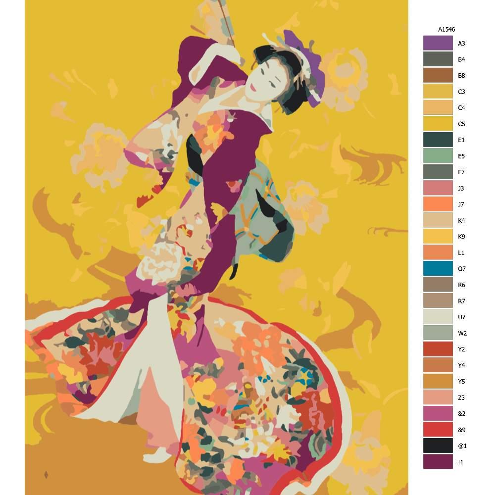 Návod pro malování podle čísel Japonská kráska
