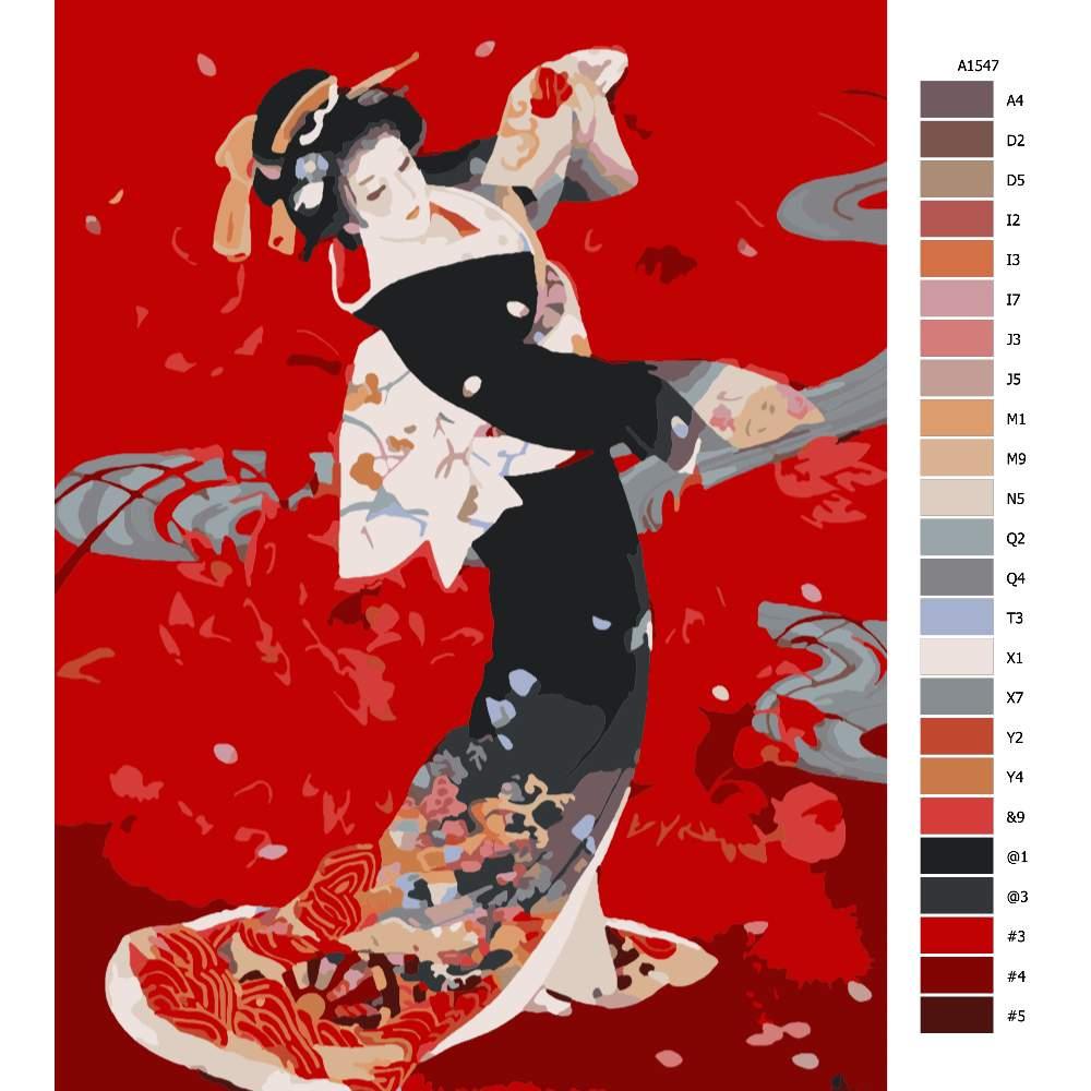 Návod pro malování podle čísel Japonská rudá krása