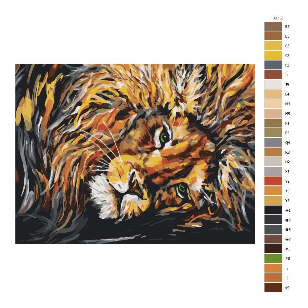 Návod pro malování podle čísel Lev pohodář