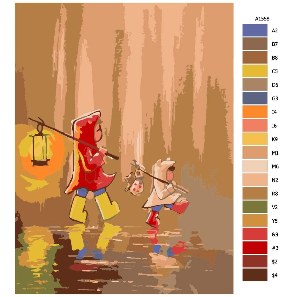 Návod pro malování podle čísel Na procházce