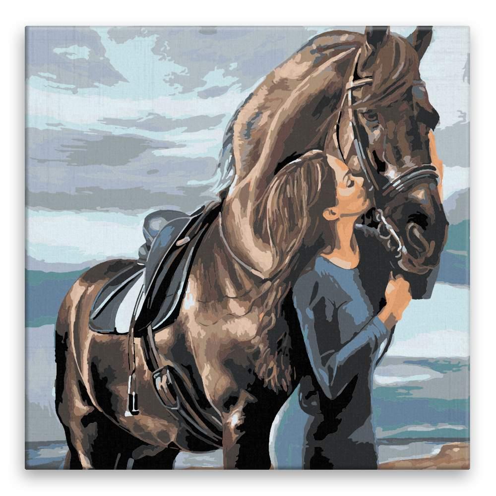 Malování podle čísel Polibek pro koně