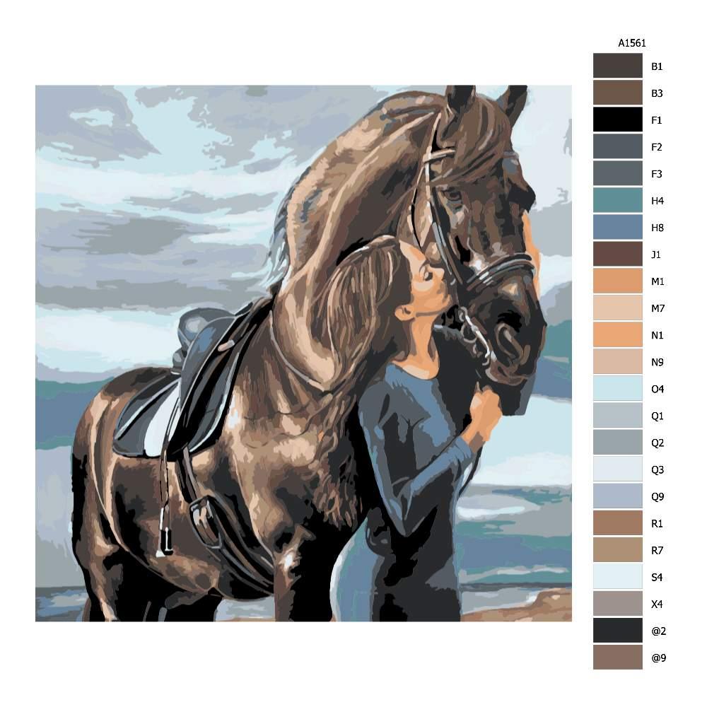 Návod pro malování podle čísel Polibek pro koně