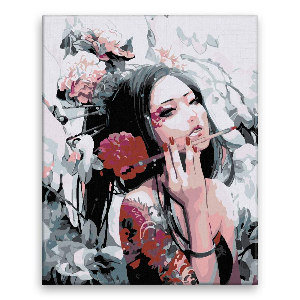 Malování podle čísel Asijská malířka