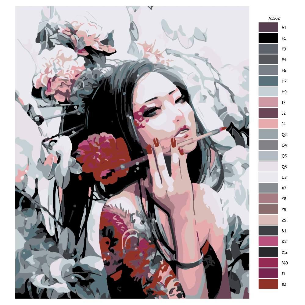 Návod pro malování podle čísel Asijská malířka