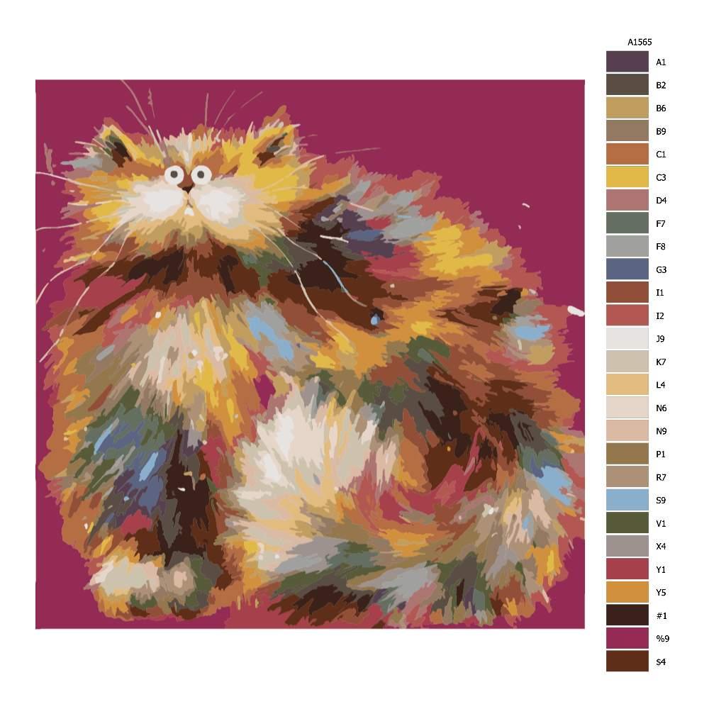 Návod pro malování podle čísel Kočka jako balón