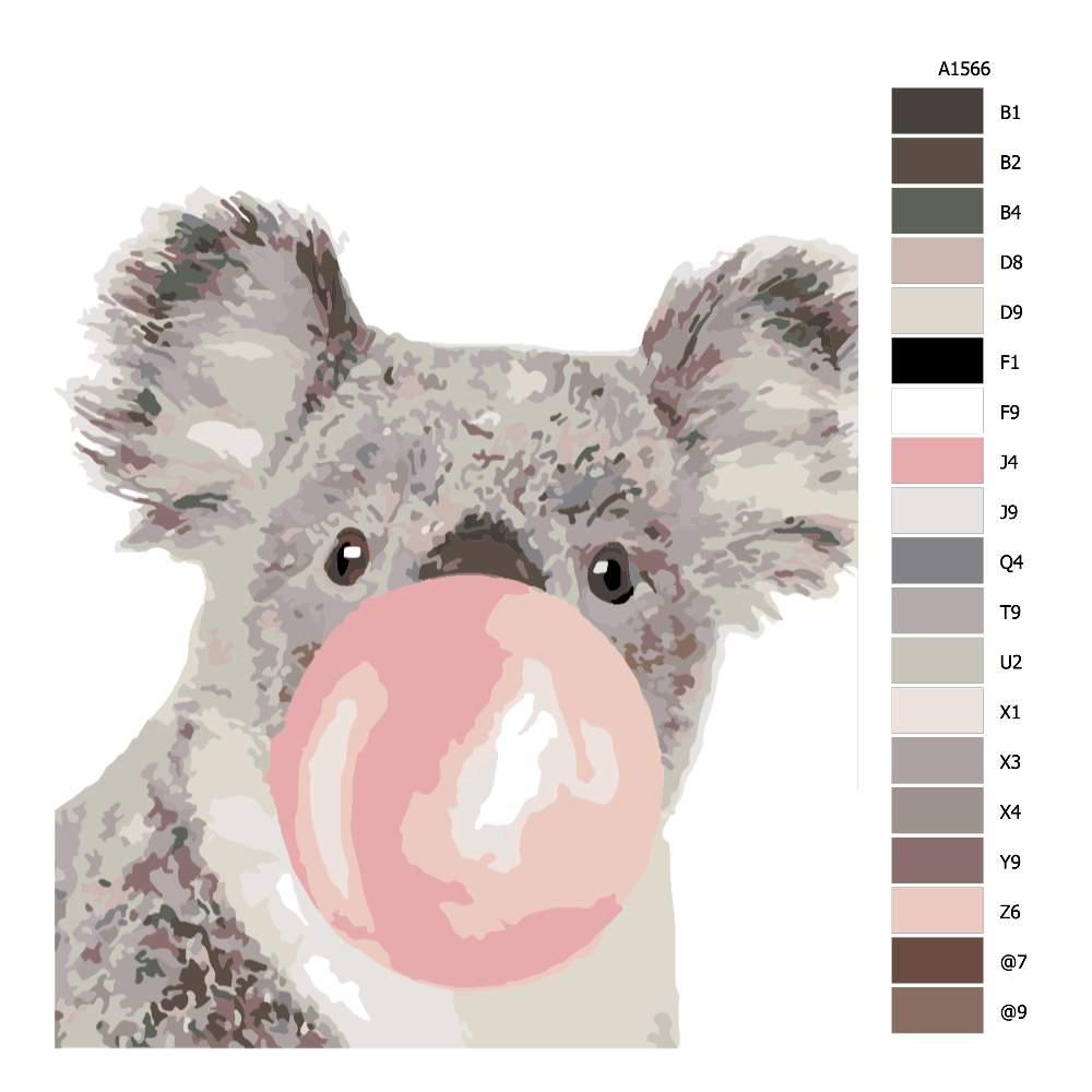 Návod pro malování podle čísel Koala s bublinou