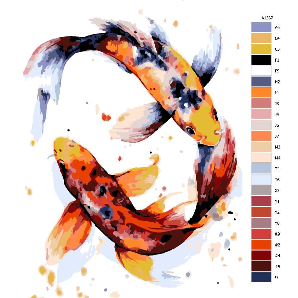 Malování podle čísel Koi kapr