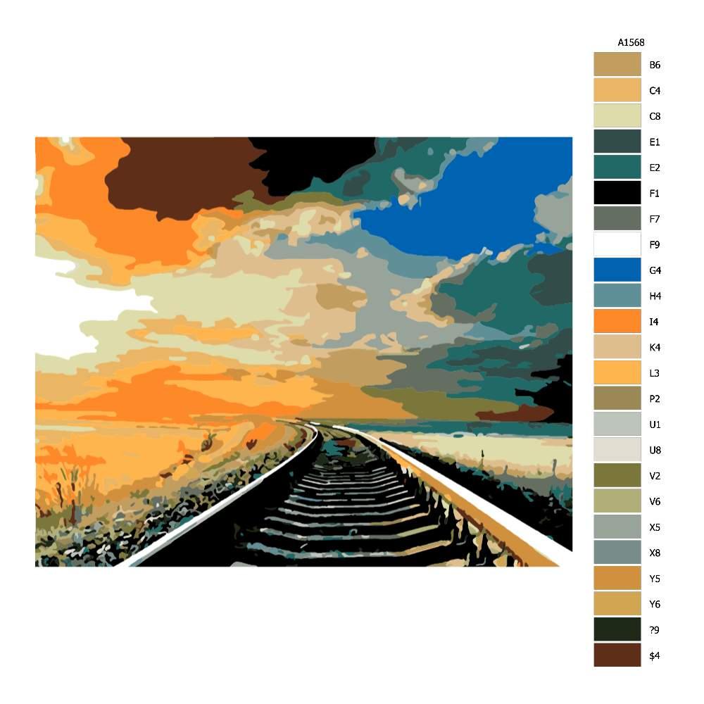 Návod pro malování podle čísel Koleje v západu slunce
