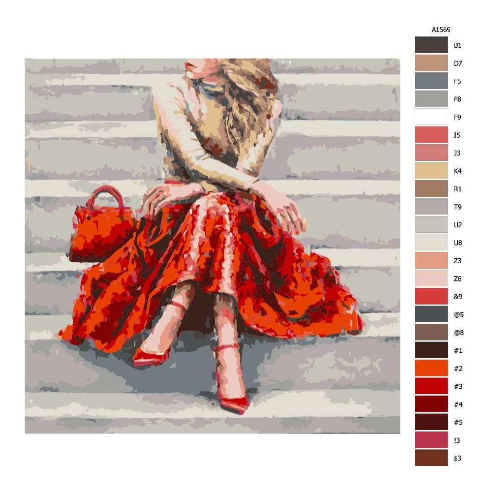 Návod pro malování podle čísel Blondýna v rudém