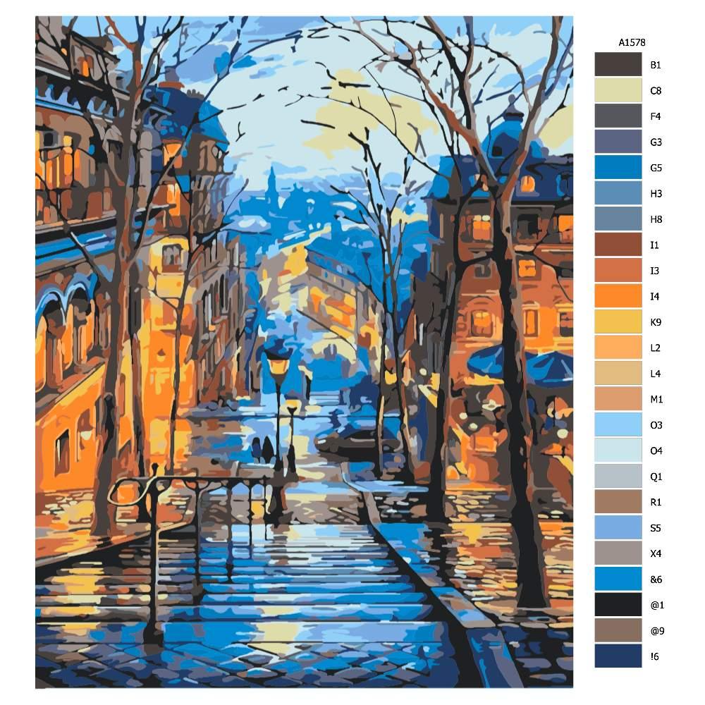 Návod pro malování podle čísel Večerní pohled na město