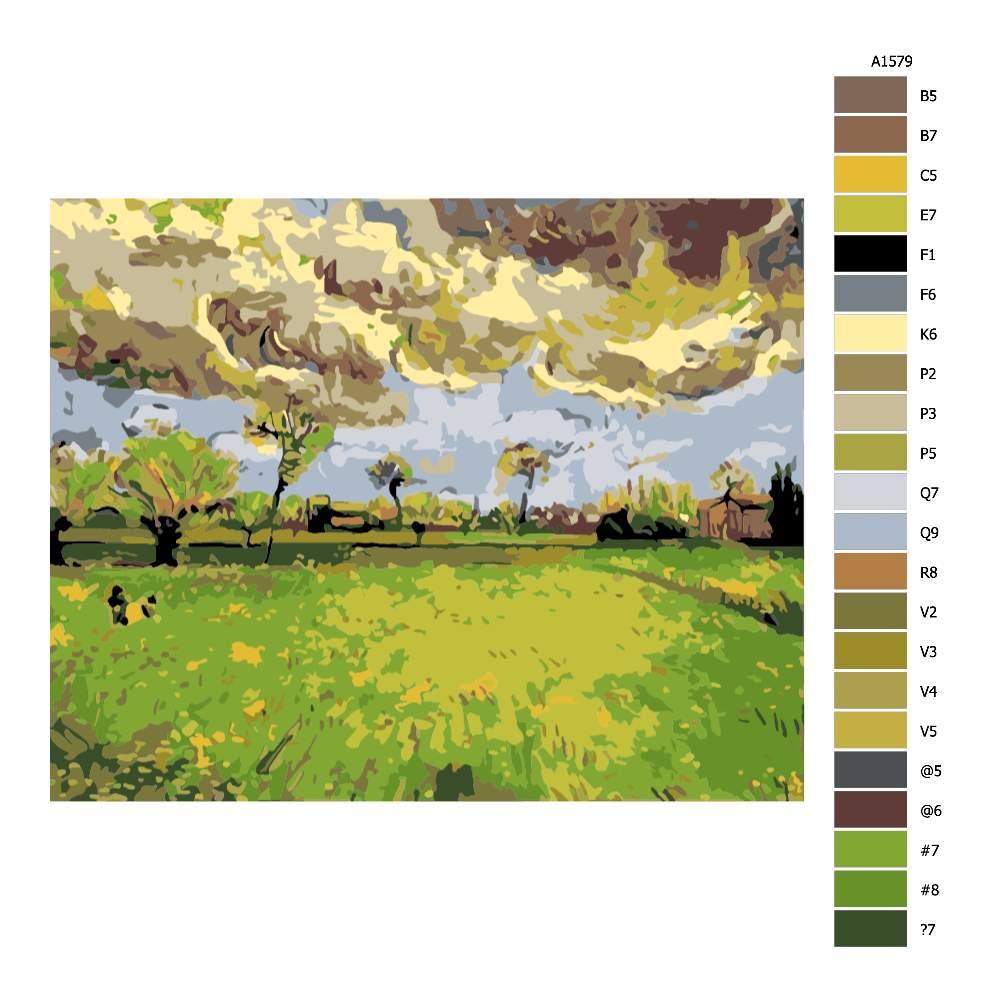Návod pro malování podle čísel Krajina před bouří Van Gogh