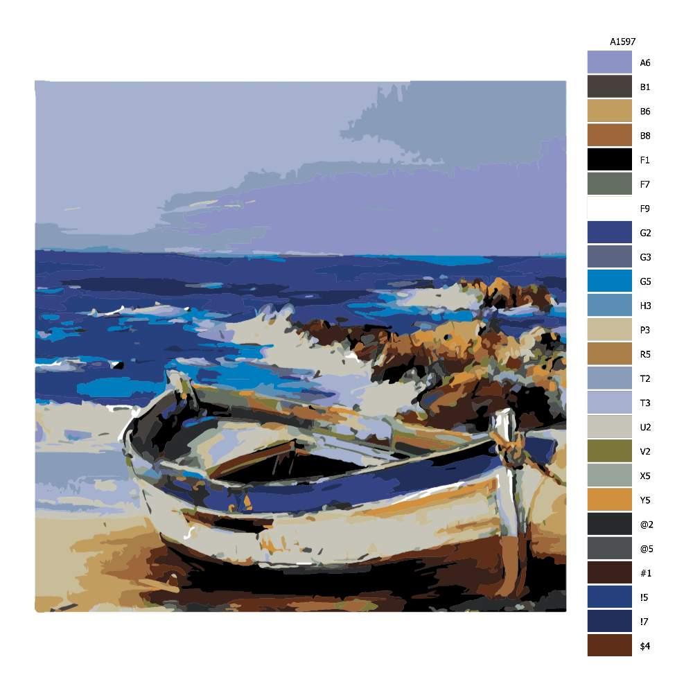 Návod pro malování podle čísel Loďka na pláži