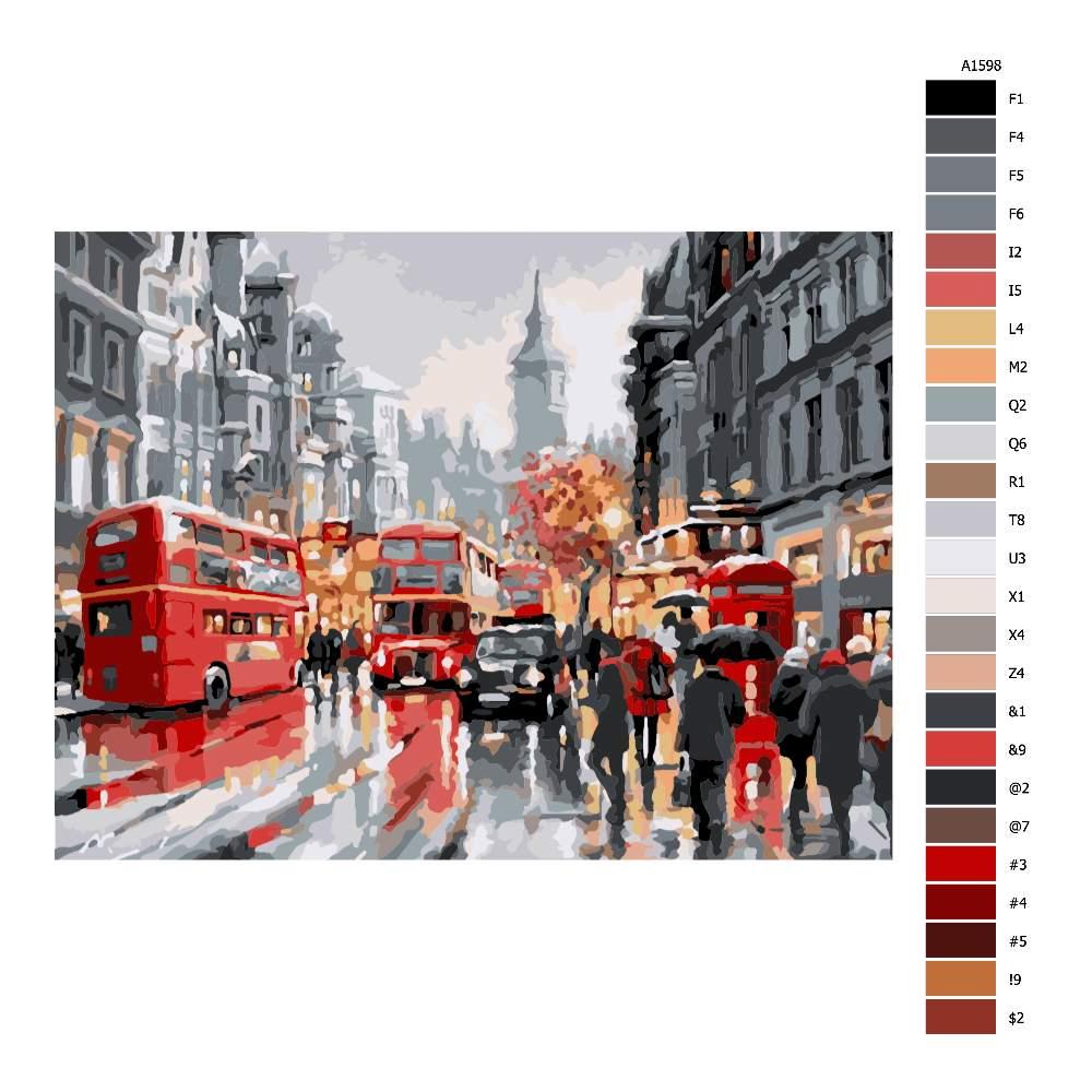 Návod pro malování podle čísel Londýn v dešti
