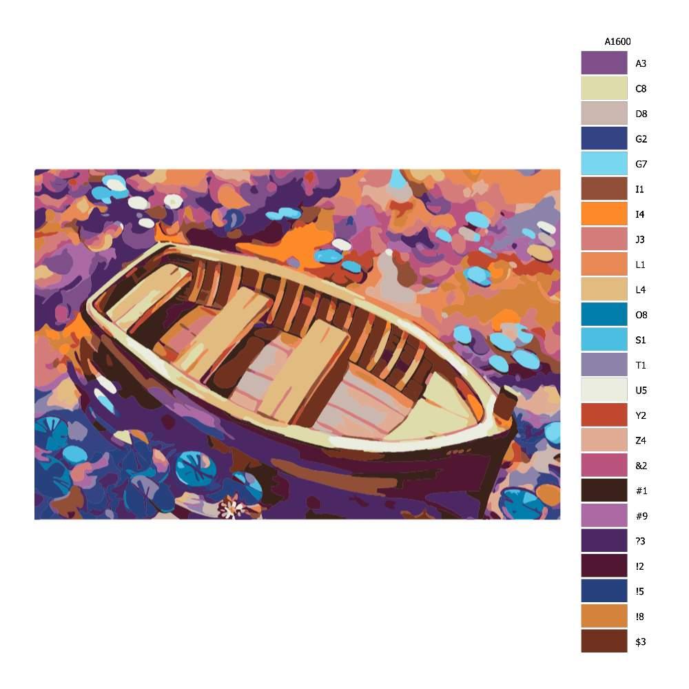 Návod pro malování podle čísel Opuštěná loďka