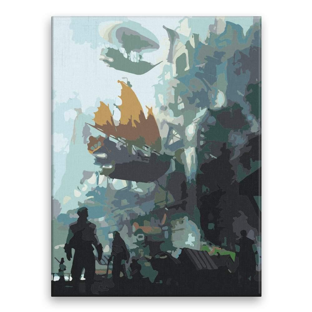 Malování podle čísel Pohled na létající loď budoucnost
