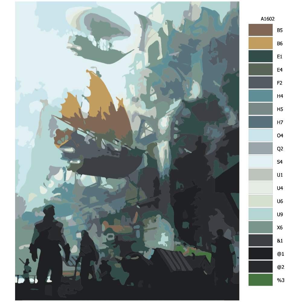 Návod pro malování podle čísel Pohled na létající loď budoucnost