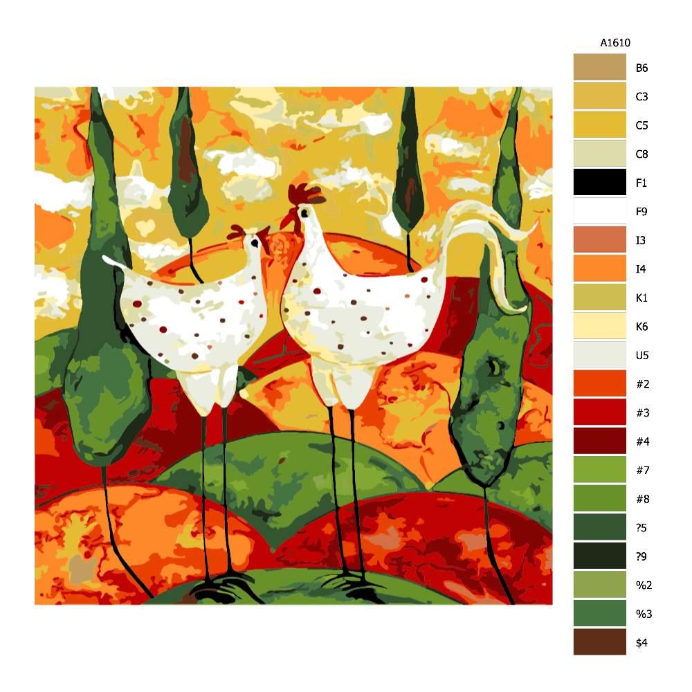 Návod pro malování podle čísel Slepička s kohoutkem