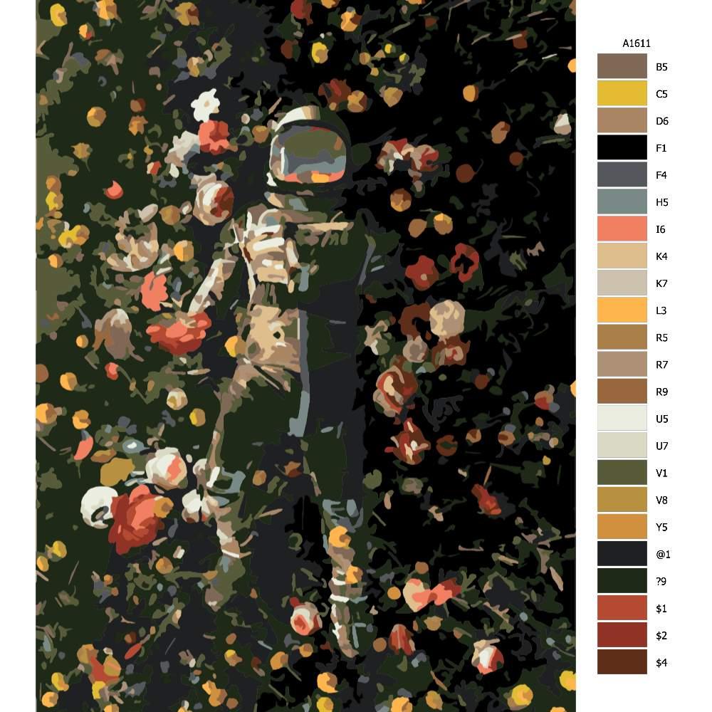 Návod pro malování podle čísel Po dopadu v kytkách