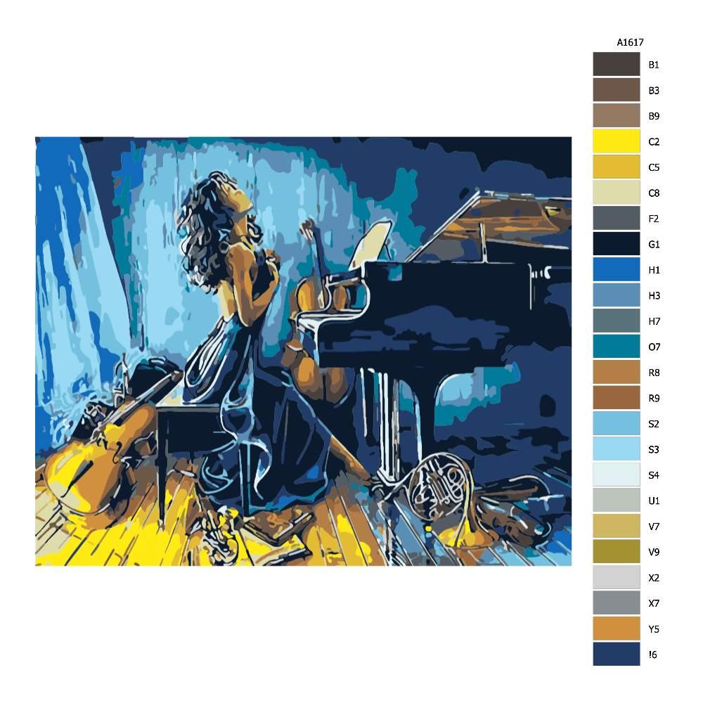 Návod pro malování podle čísel Posedlá hudbou