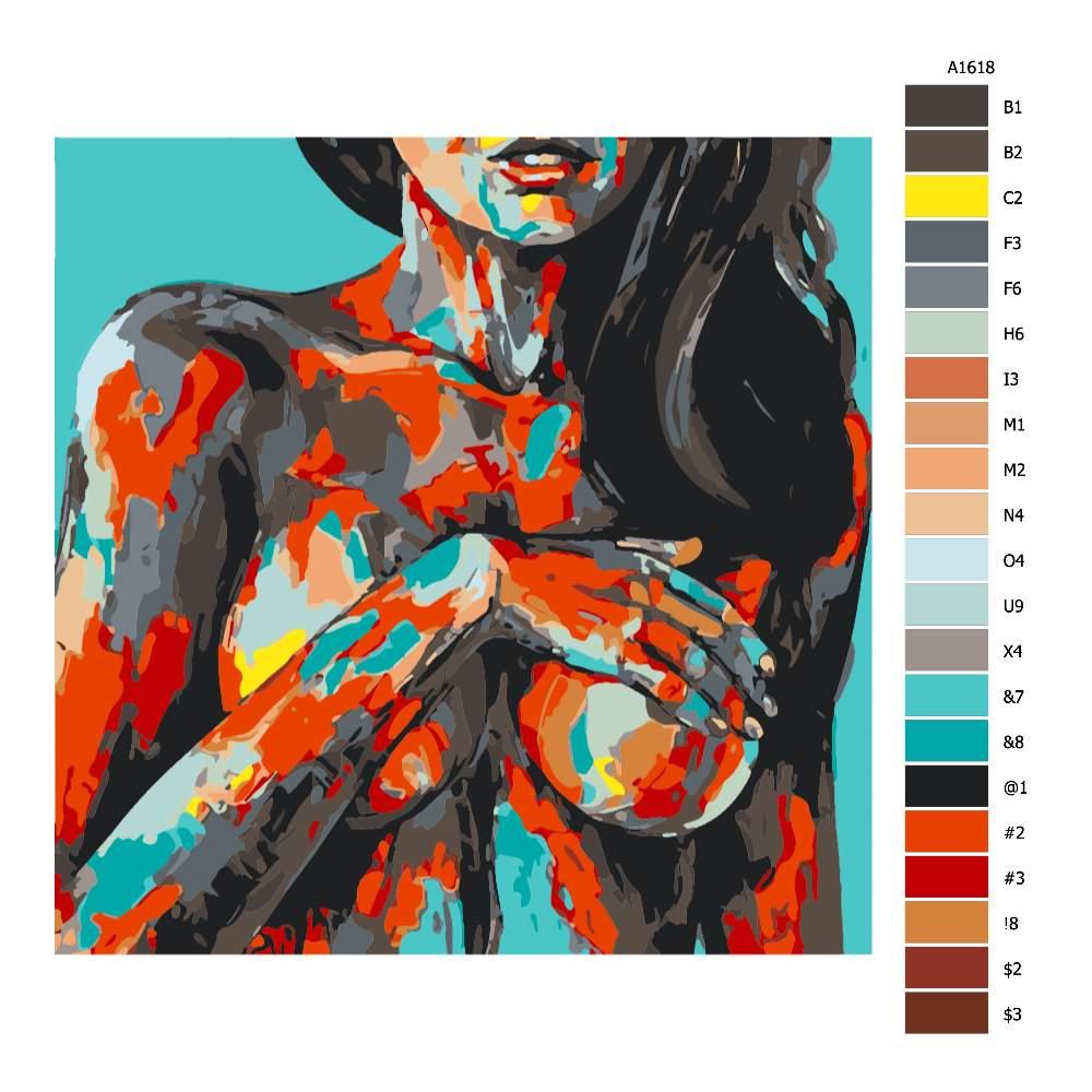 Návod pro malování podle čísel Zepředu v barvách